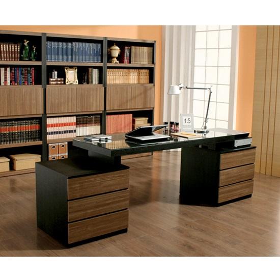 비앙스 로시니 블랙우드 책상(6단서랍)