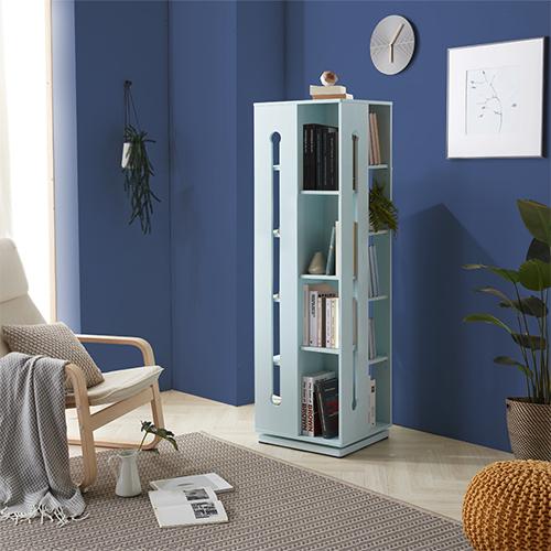 VONI 블루 원목 높은회전책장/공간활용